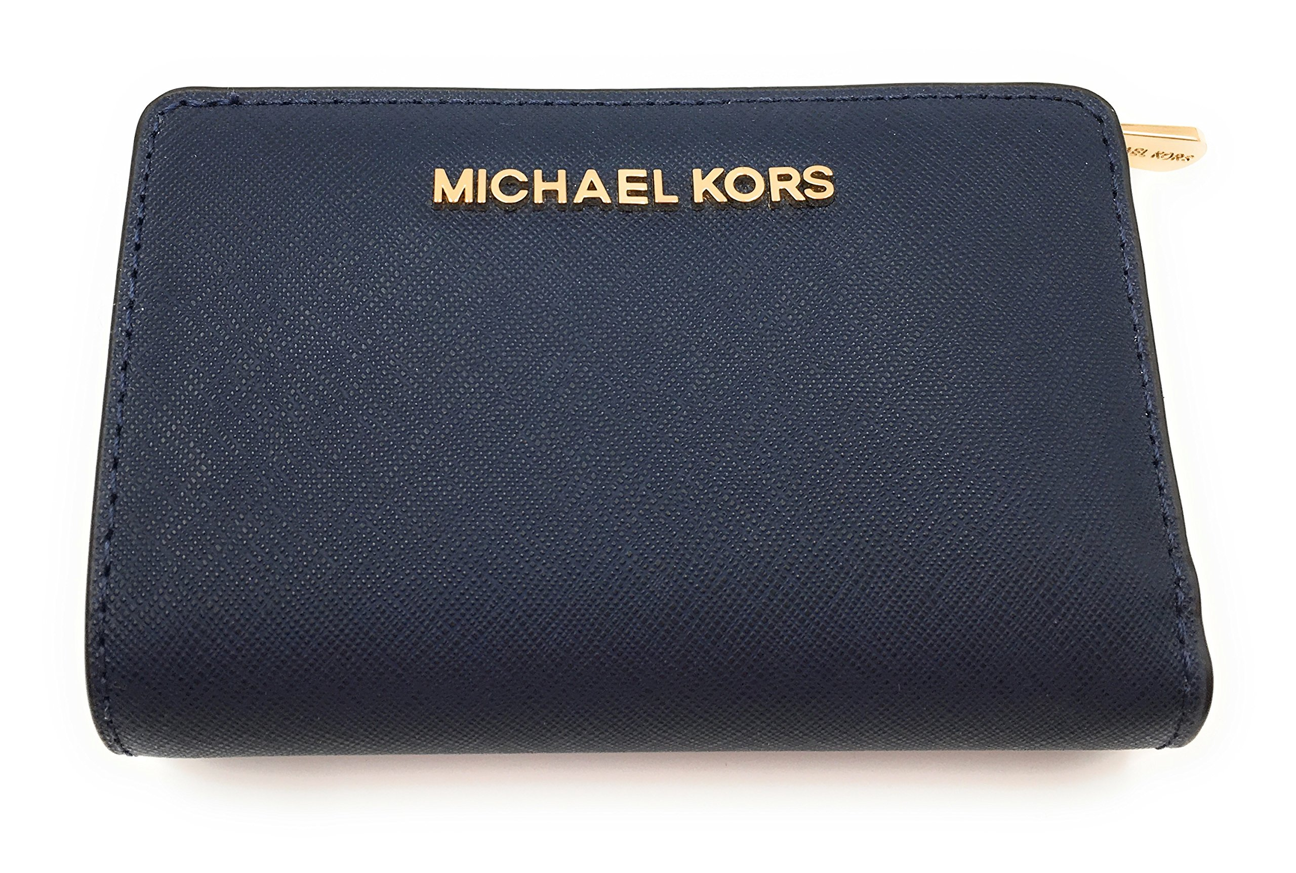 MICHAEL Michael Kors Jet Set Travel Bifold Zip Coin Wallet (Navy) by Michael Kors