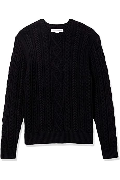 COOFANDY Mens Crewneck Sweater Cotton Cable Twisted Knitted Pullover Sweaters