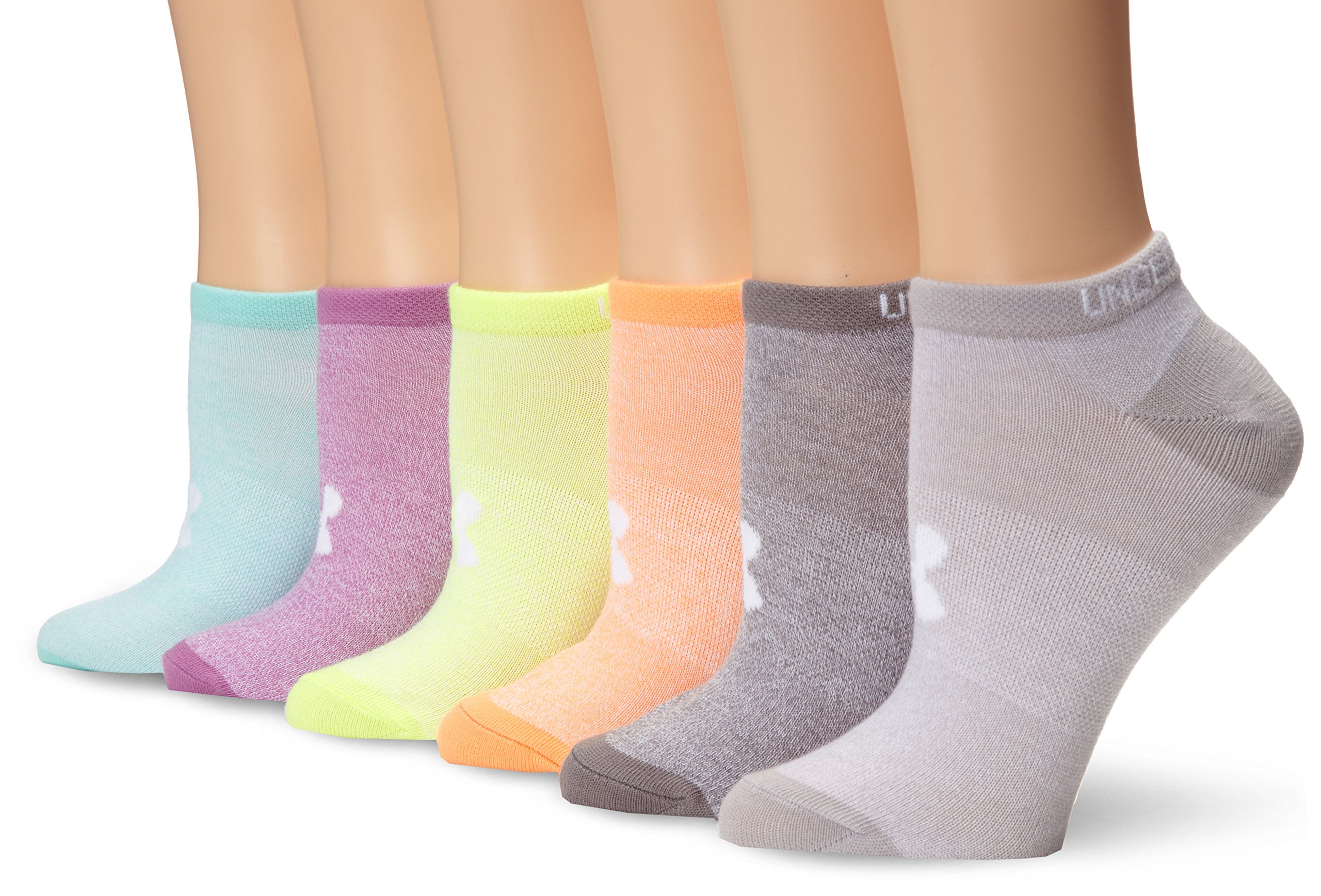 Under Armour Women's Liner No-Show Socks (6 Pairs), Marl/Assorted Colors, Medium
