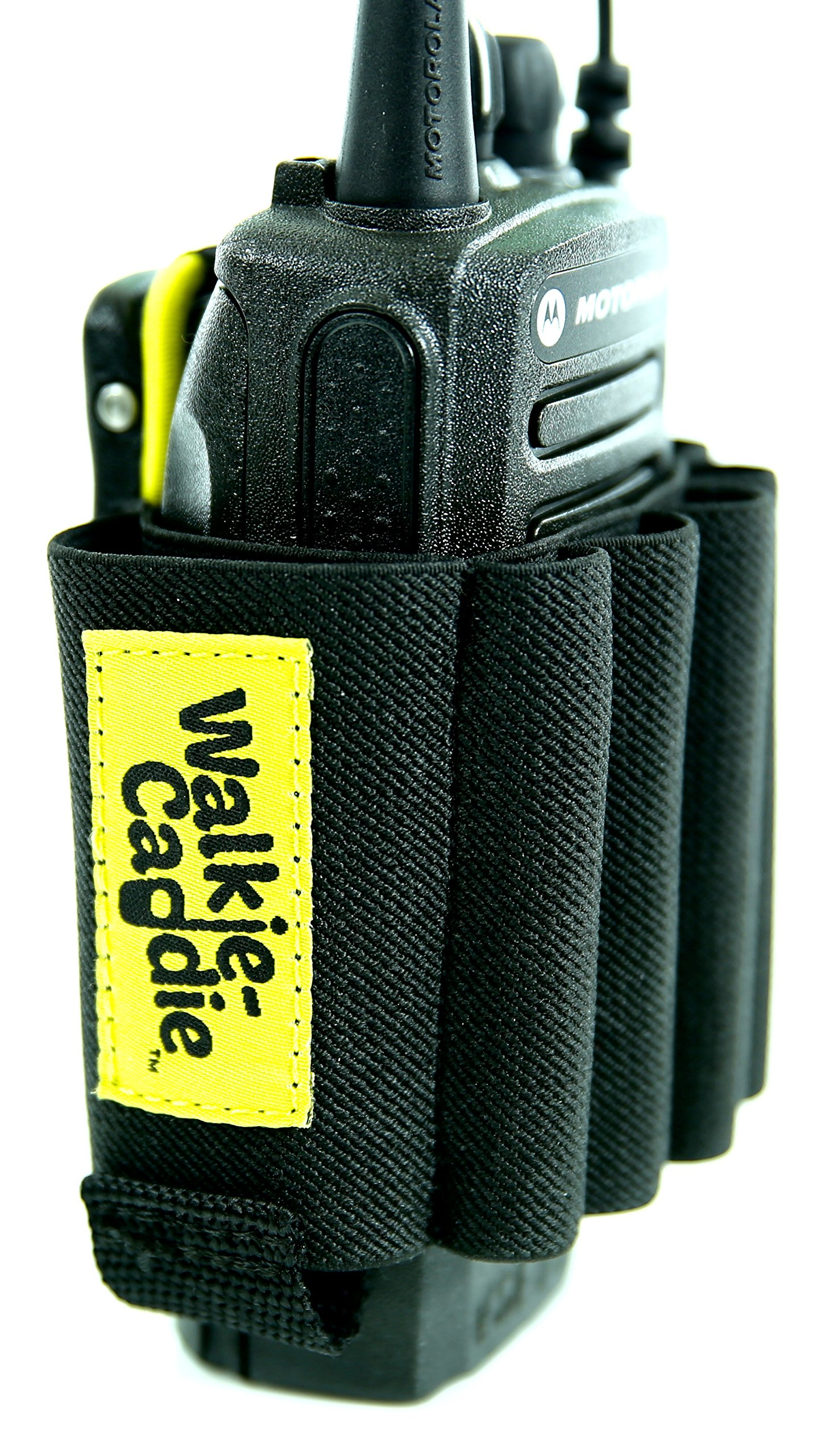 Walkie Caddie (Yellow) - Accessory Pouch for Walkie Talkies | for Motorola CP 200 and most other Walkie Talkies | Black with Yellow Bungee