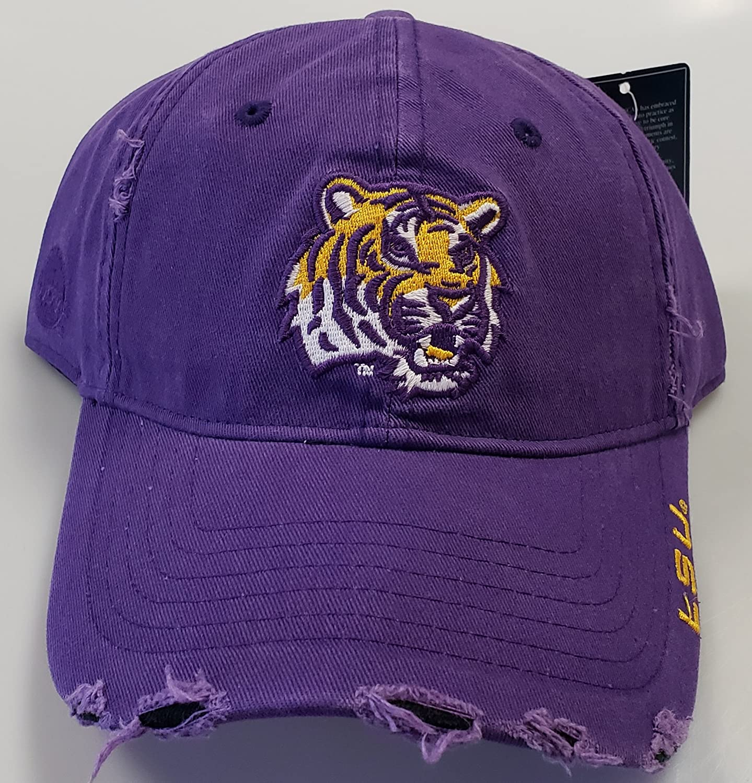 New LSU Tigers Purple Pre-Ripped Buckle Hat   B01GSTXQQ6