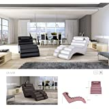 BMF MIAMI - Chaise Longue - Faux Leather or Fabric - CHOOSE ANY COLOUR Floor Lounger WHITE or BLACK - GOOD PRICE !!!