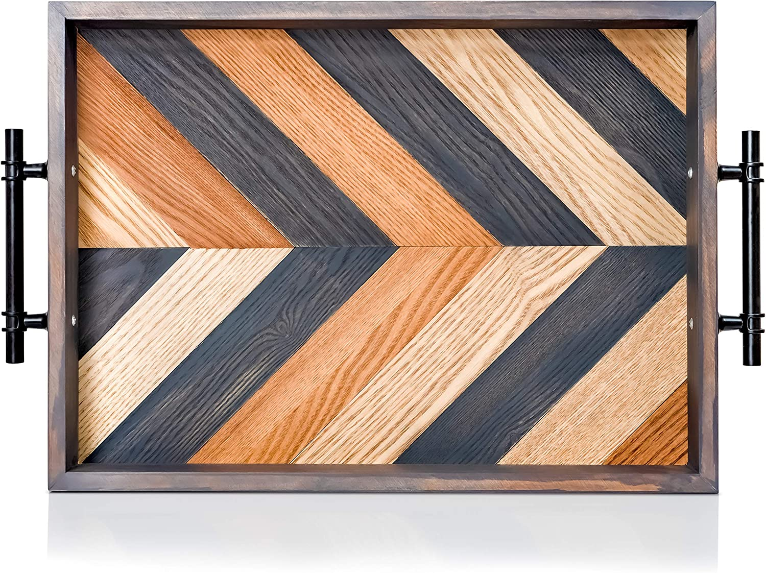 Ottoman Tray-Decorative Coffee Table Tray for Living Room-Wood Serving Trays for Rustic Farmhouse Home décor- Wooden Tray with Handles (16.5in X 12 in X 2 in)
