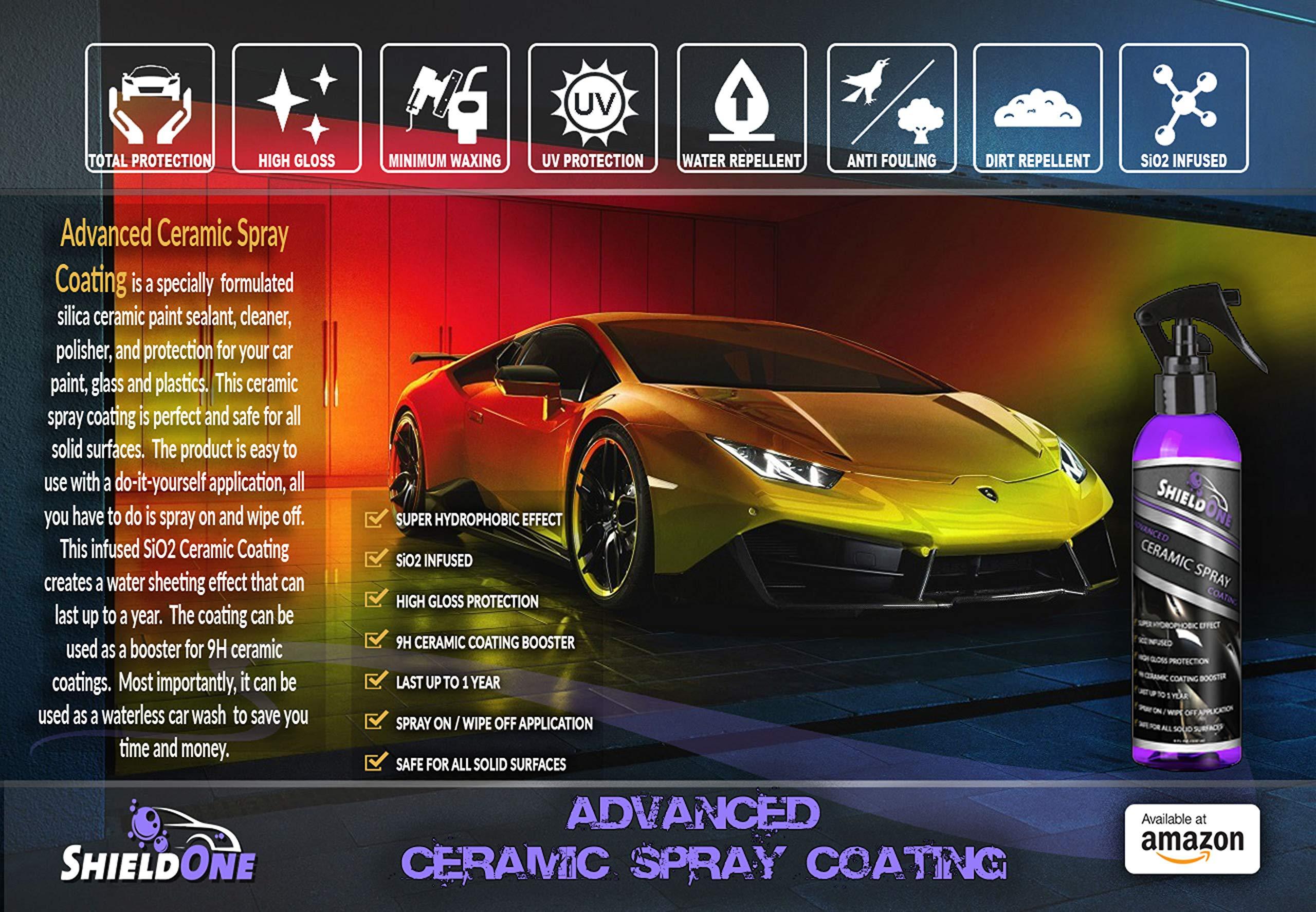 Shield One Advanced Ceramic Spray Coating - Car Topcoat - Premium Car Polish - Automotive Ceramic Shine - Multiple Surface Use - Professional Car Protection - Top Coat Polish - Waterless Car Wash by Shield One (Image #2)