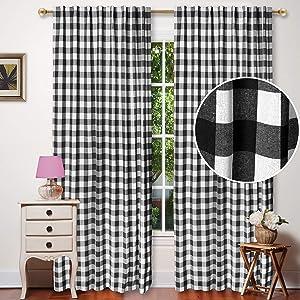 Alpha Living Home Farmhouse Cotton Black and White Buffalo Gingham Check Window Curtains, 50