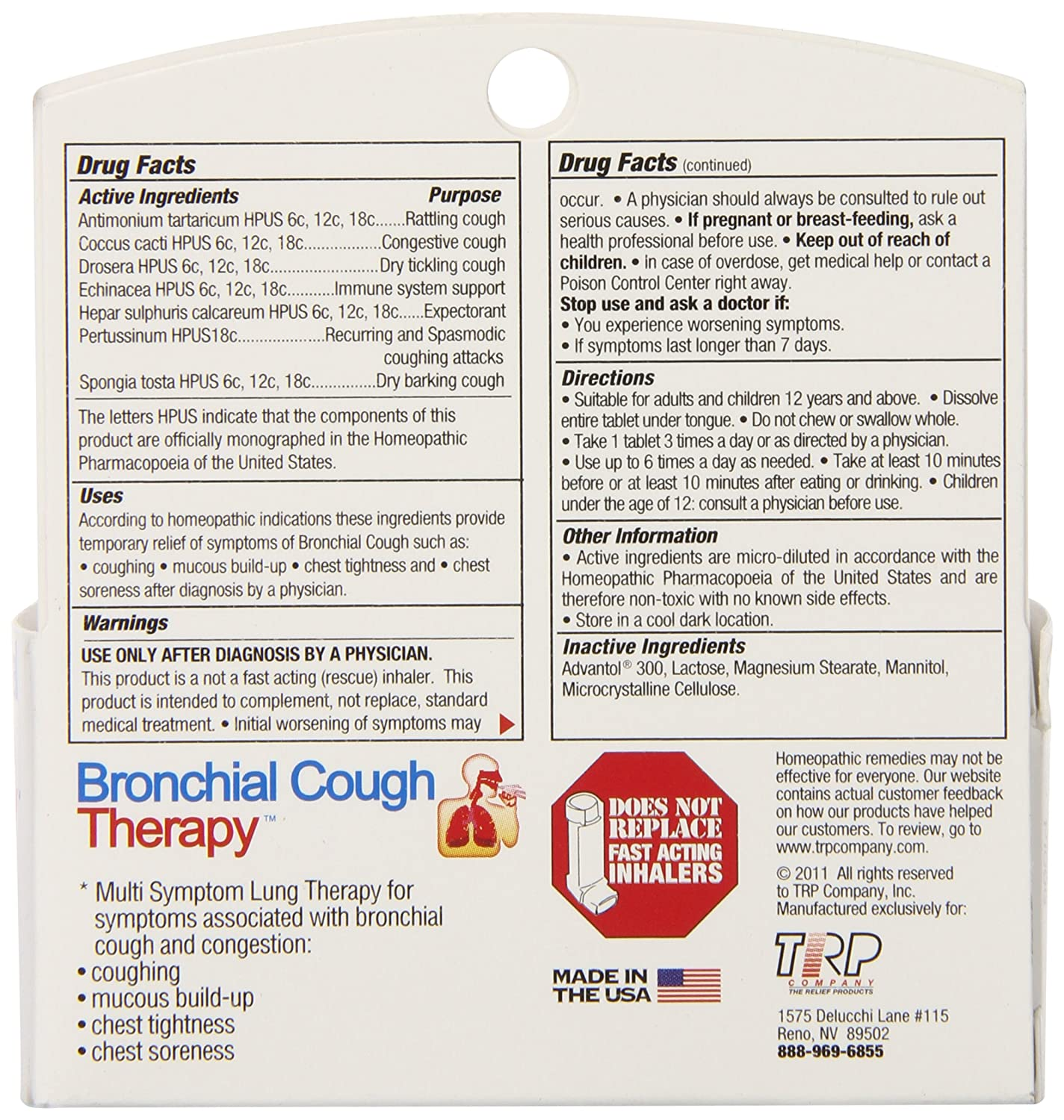 The Relief Products Bronchial Cough Relief Fast Dissolving Tablets, 70 Count