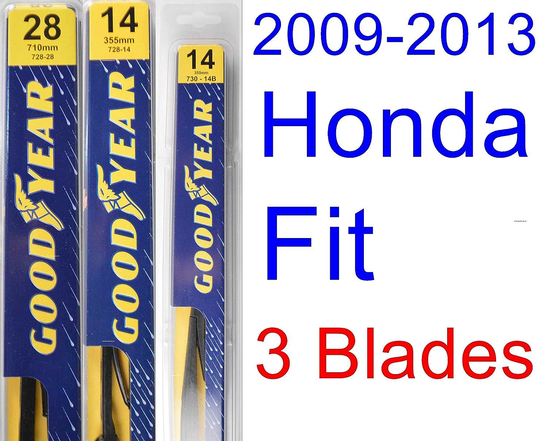 Amazon com 2009 2013 honda fit replacement wiper blade set kit set of 3 blades goodyear wiper blades premium 2010 2011 2012 automotive