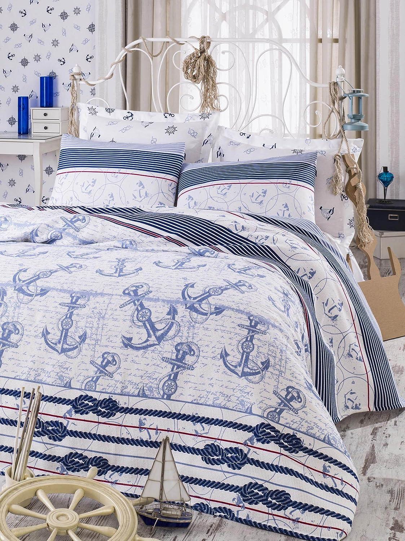 decomood Nautical寝具、アンカーテーマベッドスプレッドCoverlet (ピケ) セット、100%コットン、シングル/ツイン(3個)、フル/クイーンサイズ(4個)、 ツイン ブルー B07DZX93K4  3