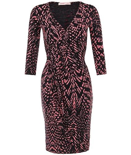 KRISP Women's Summer Fashion Casual 3/4 Sleeve Snakeskin Jersey Wrap Midi Stretch Dress US 4-16
