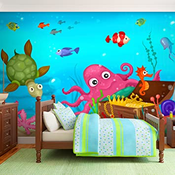 Decomonkey | Fototapete Kinder Aquarium Unterwasserwelt Fische Meer  Kindertapete 250x175 Cm XL | Design Tapete |