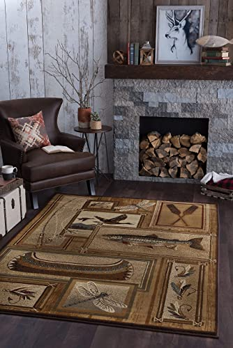 Trout Fishing Novelty Lodge Pattern Ivory Rectangle Area Rug