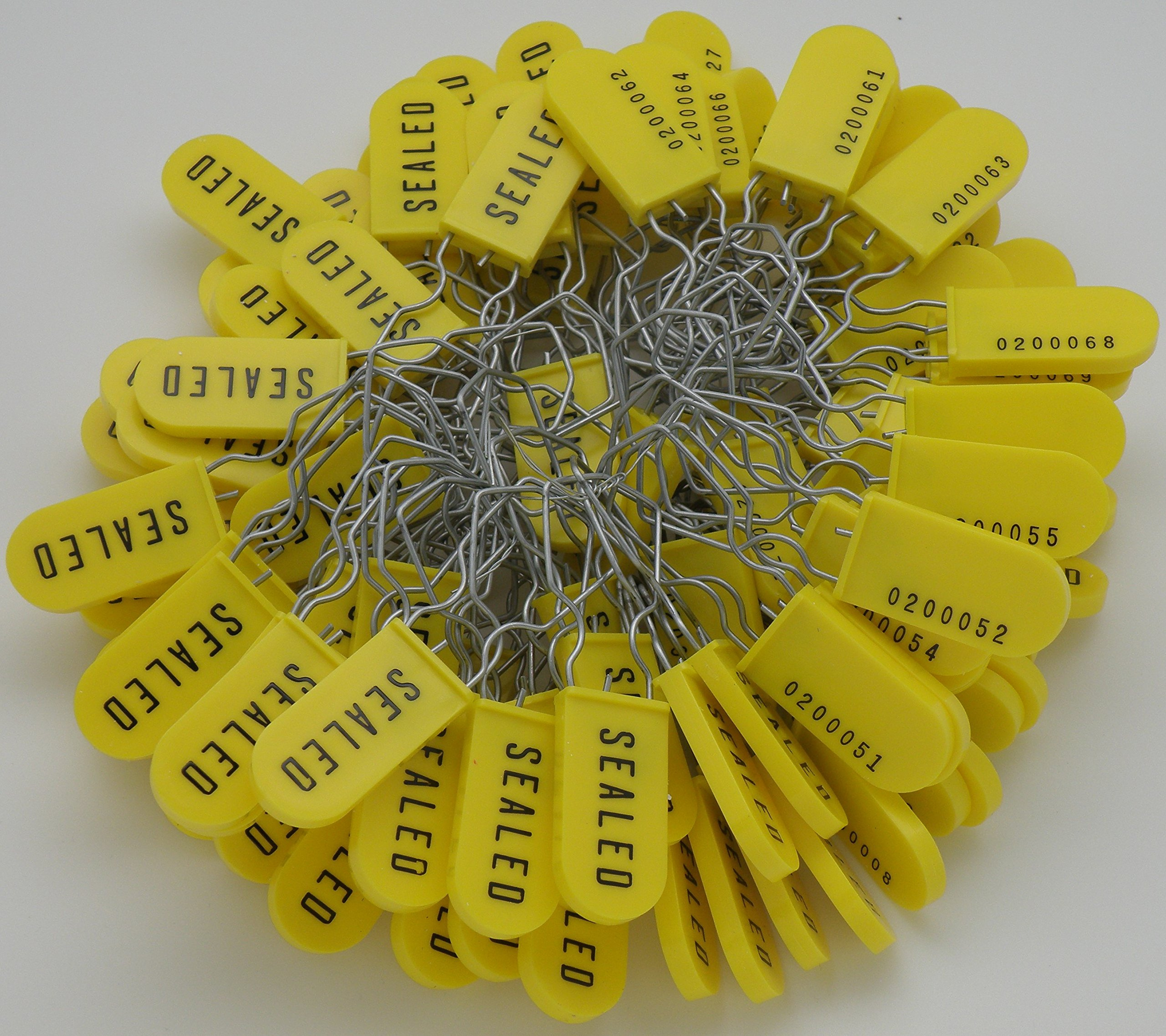 Plastic Wire Padlock Security Seals Sequentially Numbered Yellow (Pack of 100) by AZippysale