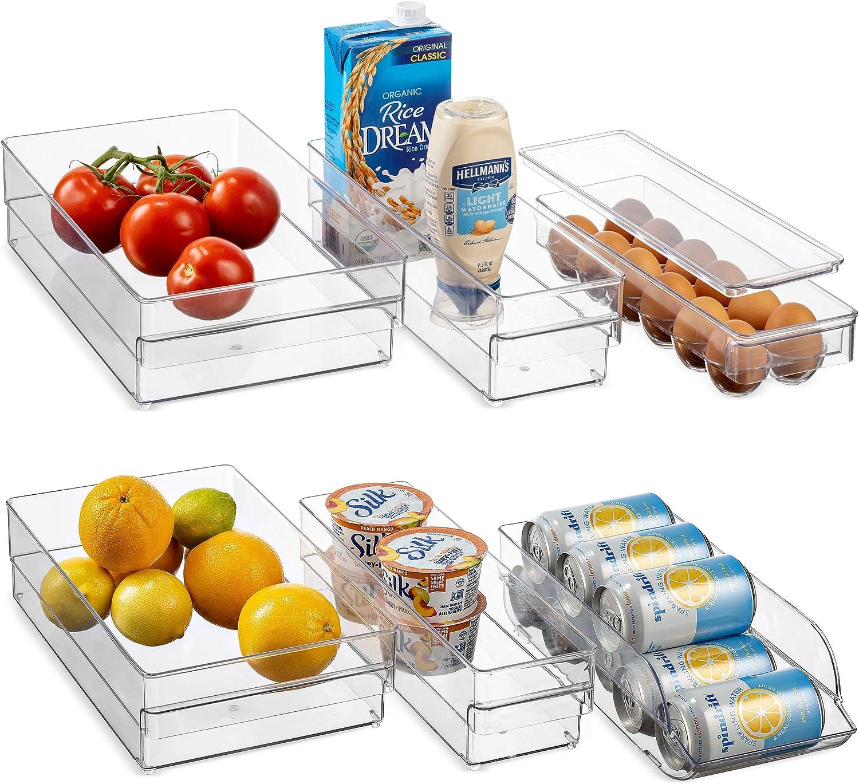 Superior Refrigerator Organizer Bins [Set of 6] Freezer & Fridge Bins, Neat Organizer (4 Clear Plastic Storage Bins, 1 Can Rack Organizer, 1 Egg Organizer) Kitchen Storage for Cabinet, Countertops