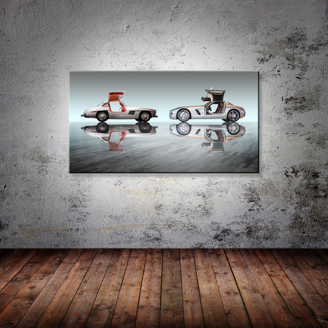 Leinwand Bild Mercedes Gullwing 300 SL SLS AMG Duell