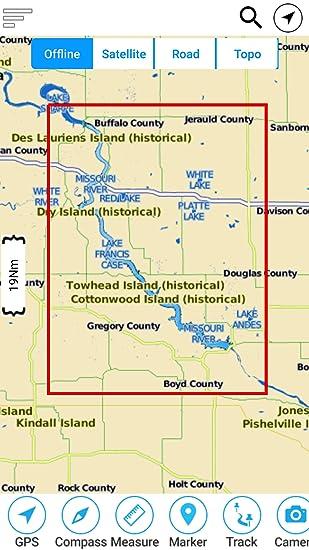 lake francis case map Amazon Com Lake Francis Case South Dakota Offline Gps Charts lake francis case map