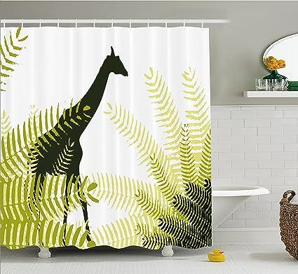 Ambesonne Africa Shower Curtain Silhouette Of Giraffe Ferns National Park Terrestrial Tall Animal Print