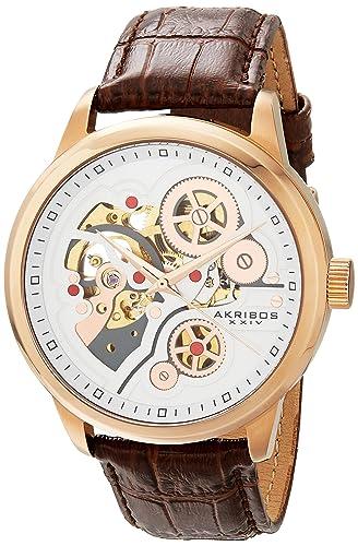 282c4447b54 Akribos XXIV Men s AK538BR Mechanical Skeleton Leather Strap Watch ...