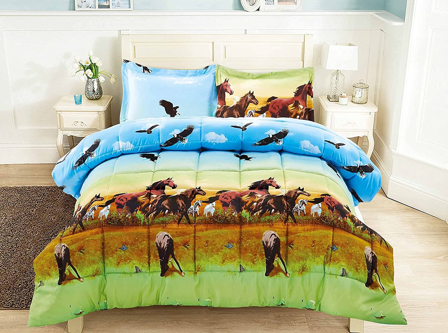 3 Piece Set Wild Horse and Eagle 3d Comforter Set (Y25) Queen