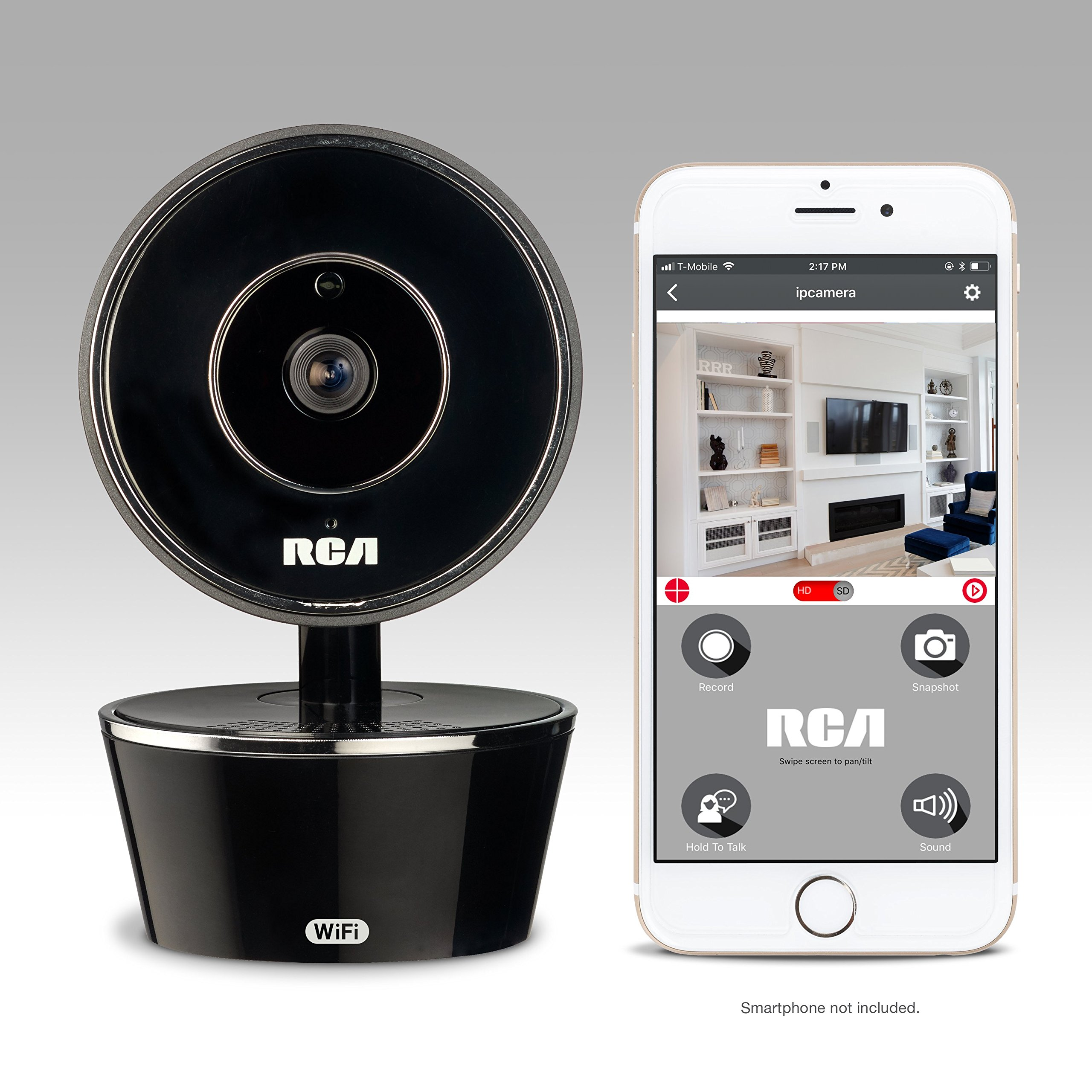 RCA WiFi Video Camera Home Security System with Motion Detection, 2 Way Talk and Night Vision. Works w/iPhone, Samsung, LG, Google or Any Smartphone/Wireless Device