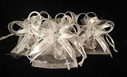 Baptism 12 White Organza Favor Bags with Key Chains Our Lady of Guadalupe (12) mini rosaries | Bolsas de Organza con Llaveros de Nuestra Senora de ...