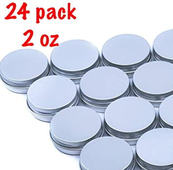 1b766c490c91 Greensadi 24 Pack Set of Silver Round Aluminum Storage Container Holder  Tins with Screw Top Thread...