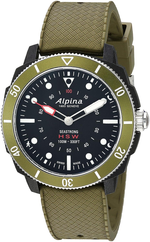 Image of Alpina Men's Horological Smart Watch Stainless Steel Quartz Sport Rubber Strap, Green, 21.4 (Model: AL-282LBGR4V6) Sport Watches