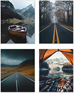 Yellow Wanderlust Camping Prints - Set of 4 (8x10) Glossy Black and Mustard Nature Forest Scandinavain Lake Road Wall Art Photography Decor