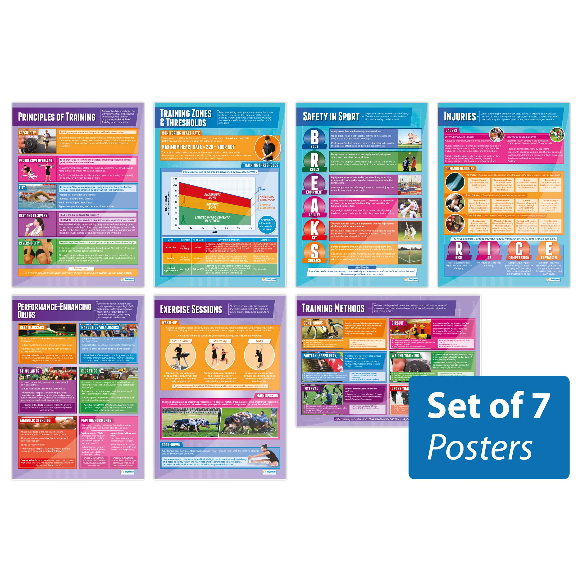 Physical Training Posters - Set of 7 | PE Posters | Laminated Gloss Paper Measuring 33'' x 23.5'' | Physical Education Charts for The Classroom | Education Charts by Daydream Education