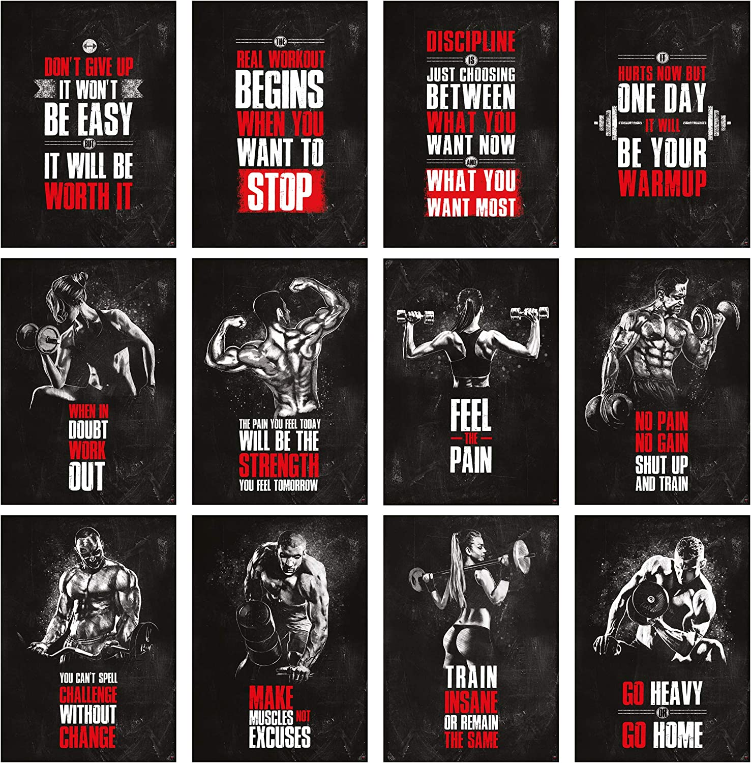 GREAT ART Motivational Poster Set (12 Posters) 24.4x16.5in (59,4x42cm) Workout Poster, Gym Inspiration Fitness Quotes Nr.1-12