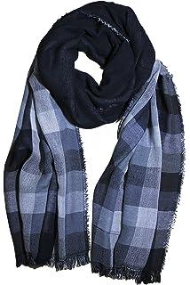 e0abc344ae25 FERETI Echarpe pour homme Noir mix gris fonce Cotton tres douce e chaude