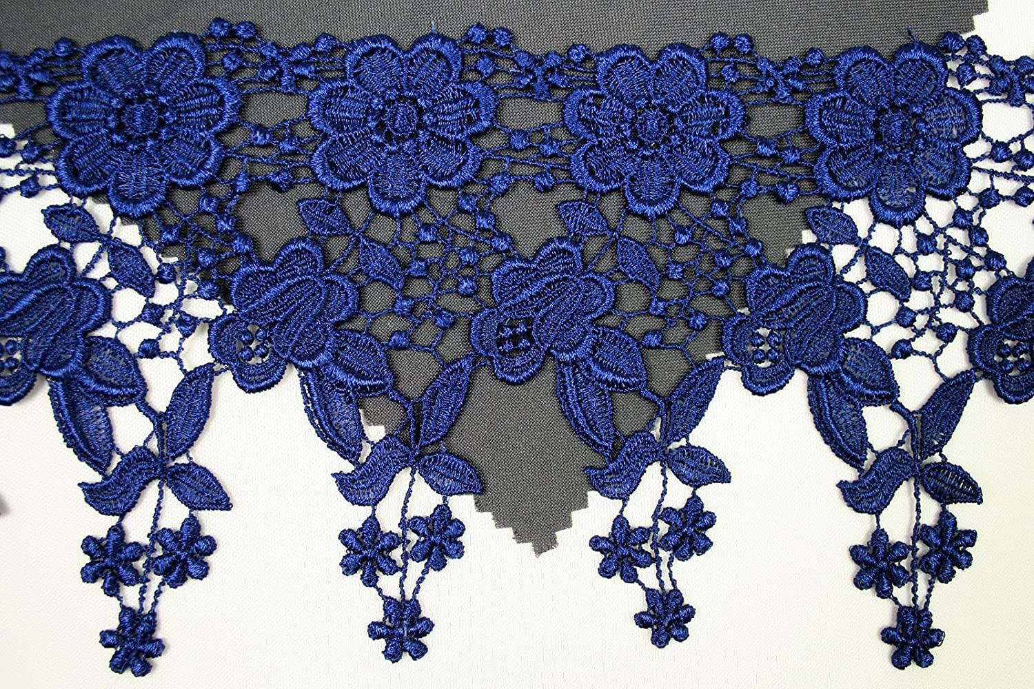 Burgundy Altotux 4.5 12 Color Dangling Embroidered Floral Venice Lace Trim Guipure By Yd