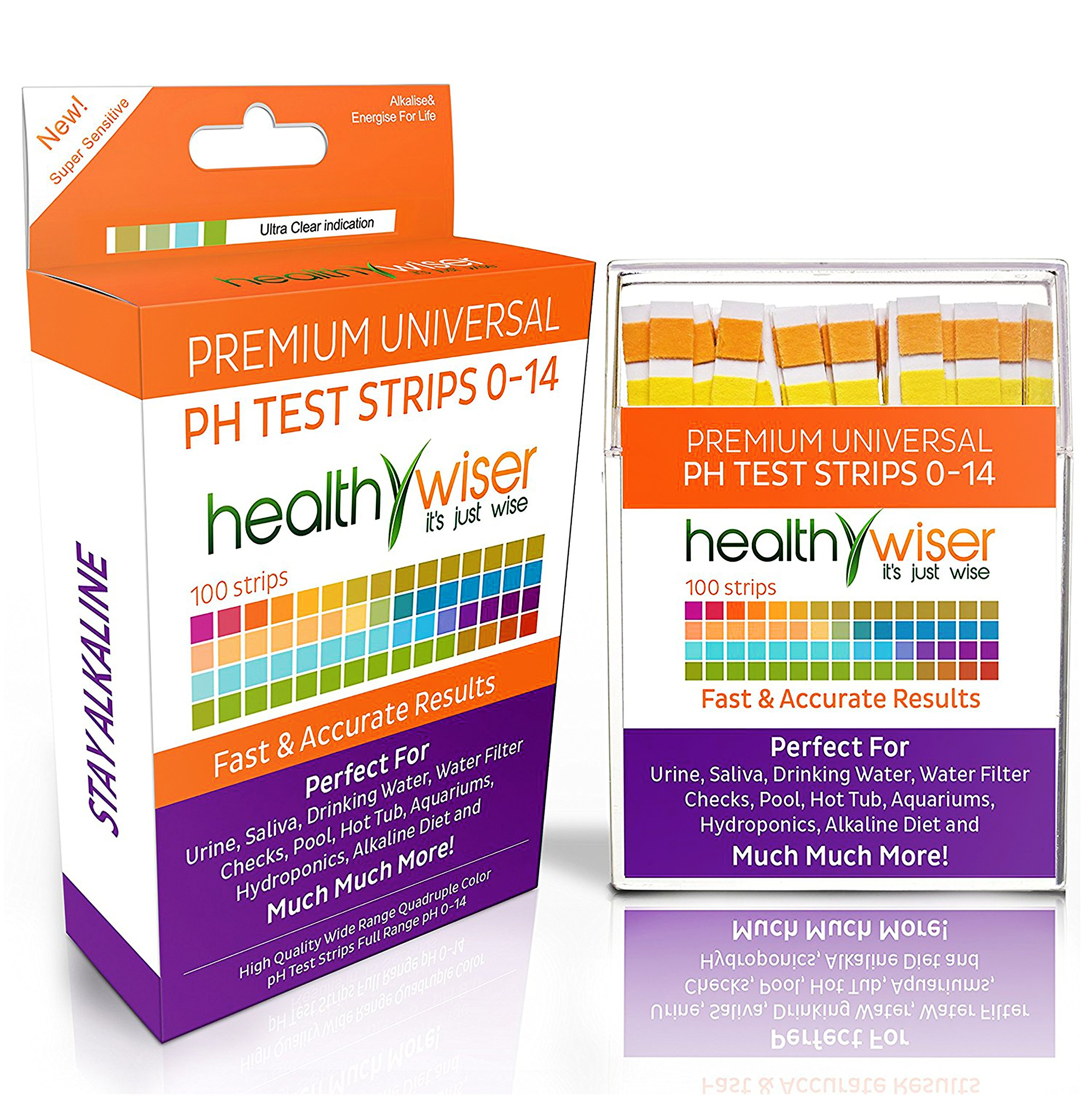 HealthyWiser - pH Test Strips 0-14, Universal Application, Results in Seconds, 100-Count