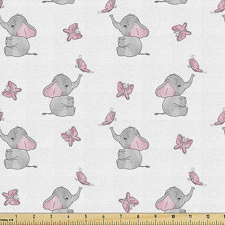Elephant Fabric,Elephant Fabric by the Yard,Baby Girl Fabric,Baby Boy Fabric,Organic Fabric,Tropical Fabric,Nursery Fabric,baby quilt fabric