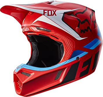 Fox Racing seca adulto V3 Motocross casco de moto, color rojo
