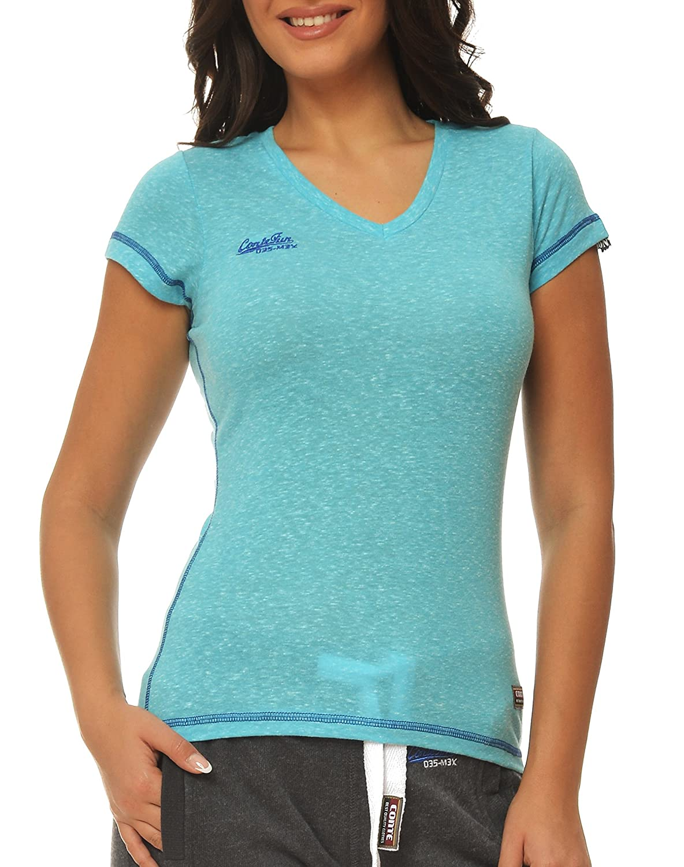 M.Conte Damen Fitness Sportliches T-Shirt Kurzarm Sweat-Shirt Schwarz Blau Lila Neon-Pink S M L XL in Farbe Grau Blau Lila und Schwarz Ragazza