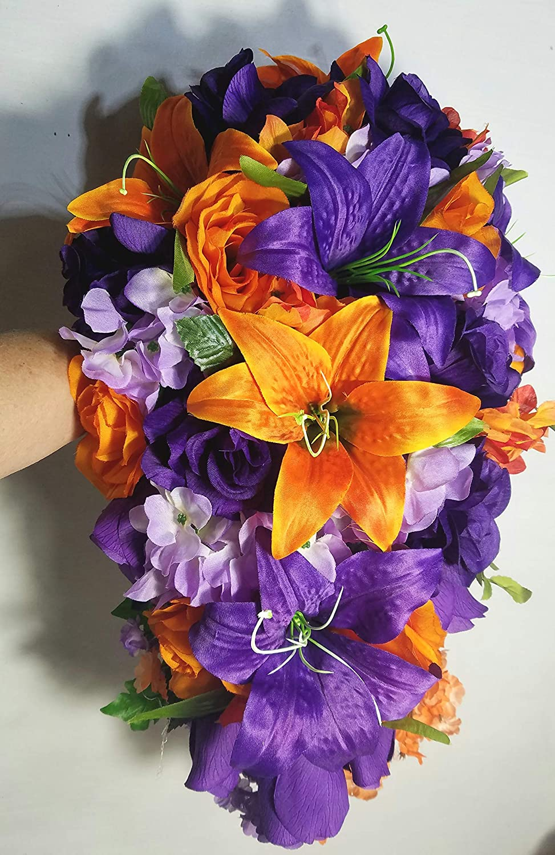 Amazon Com Purple Orange Rose Tiger Lily Cascading Bridal Wedding