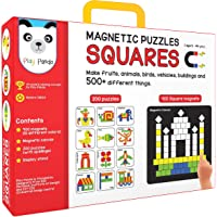 Play Panda Magnetic Puzzles Squares - 400 Colorful magnets, 200 puzzles, magnetic board, display stand