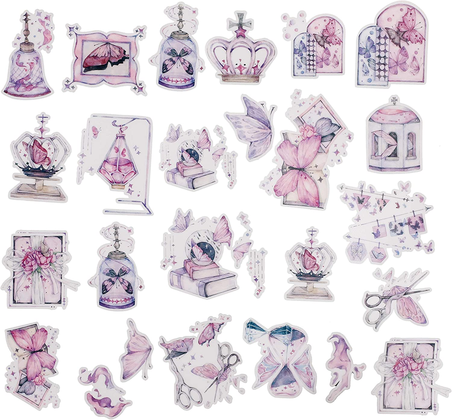 Navy Peony Pink Butterfly Stickers for Girls (25 Pack) - Small, Cute, Waterproof and Durable | Assorted Art Decals for Scrapbook, Laptops, Water Bottles