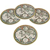 """Set of 4, 4"""" Diameter Ceramic Old World Map Design Coasters by Trademark Innovations"""