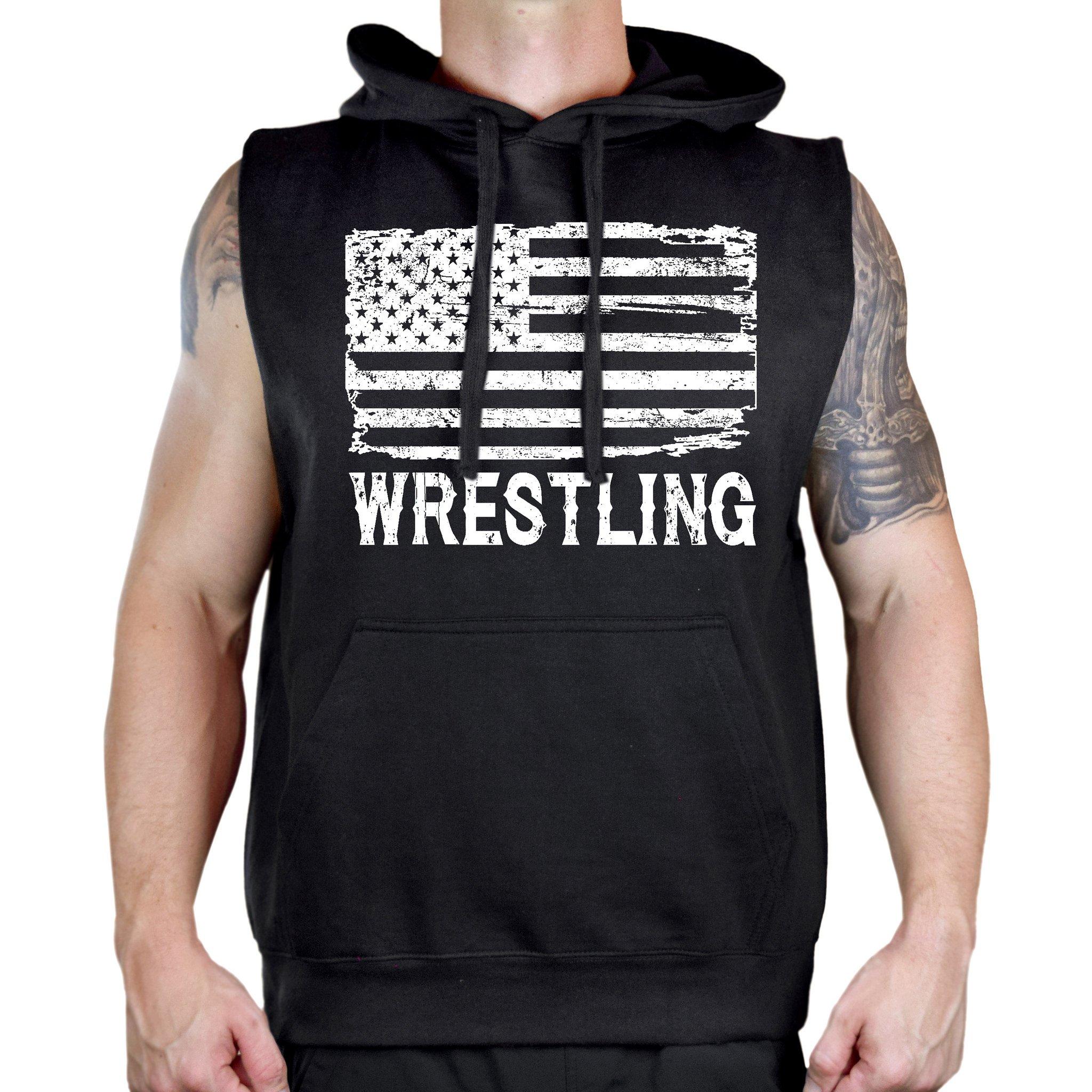 Interstate Apparel Men's Wrestling American Flag Sleeveless Vest Hoodie 2X-Large Black