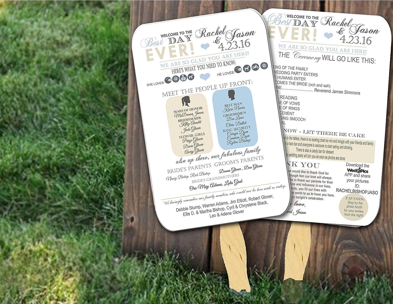 Personalized Wedding program fans Wedding Programs Wedding Fans ANY COLOR