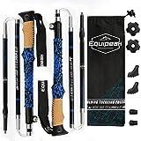 Collapsible Folding Hiking & Trekking Sticks - 2 Aluminum Walking Poles with real Cork & EVA Handle Grip SET - Ultra Strong Locking - For Men & Women