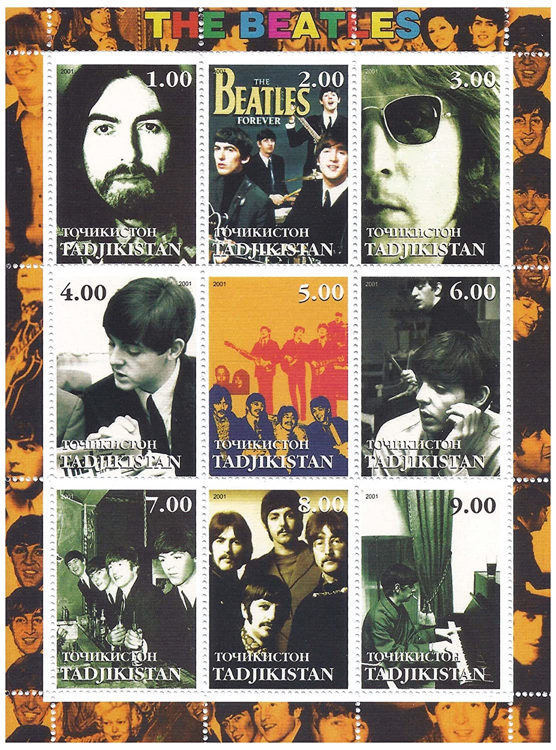 Classic Beatles photos - 9 stamps for collectors on a mint condition stamp sheet - never mounted and never hinged Stamps by Stampbank