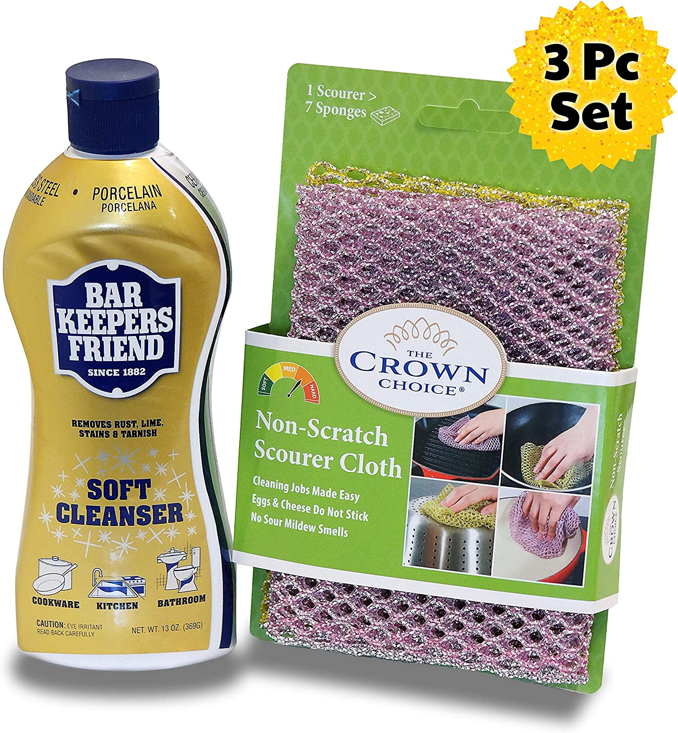 BAR KEEPERS FRIEND Soft Cleanser Liquid (13 OZ) and Non Scratch Scouring Scrubber Kit | Multipurpose, Stainless Steel, Rust, Soft Cleaner with Heavy Duty Non Scratch DishCloth