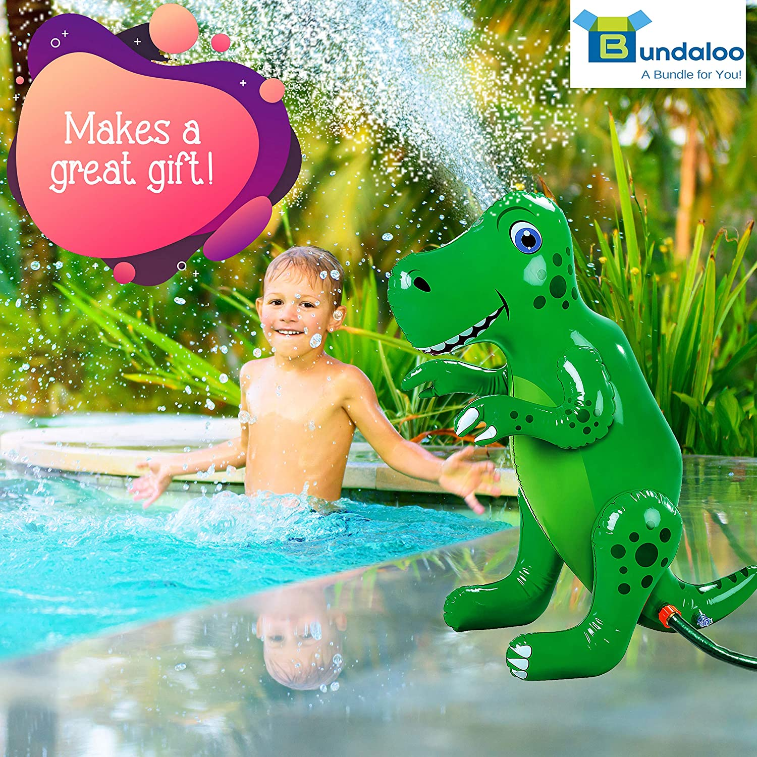 Bundaloo Inflatable Dinosaur Sprinkler Park Fun Outdoor Water Toy for Boys and Girls Age 3 and Up- Beach Backyard Splash Activities for Summer Lawn Decorative Dino-Themed Birthday Party Games