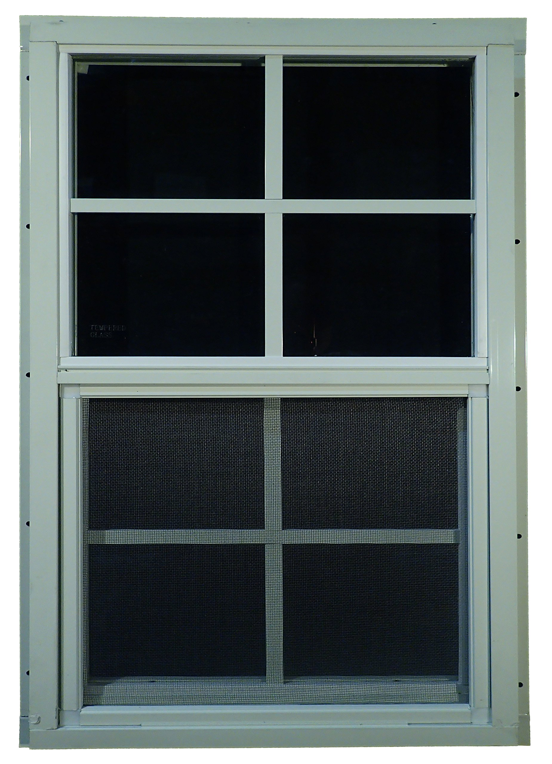 Shed Windows 14'' W x 21'' H - J-Lap w/ Safety Glass - Playhouse Windows (White)