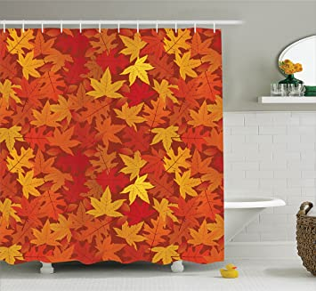 Autumn Shower Curtain Burnt Orange Decor By Ambesonne Multi Colored Autumn Fall Maple Leaves In