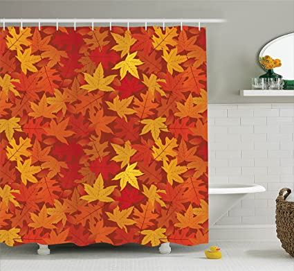 Ambesonne Autumn Shower Curtain Burnt Orange Decor, Multi Colored Autumn  Fall Maple Leaves In Unusual