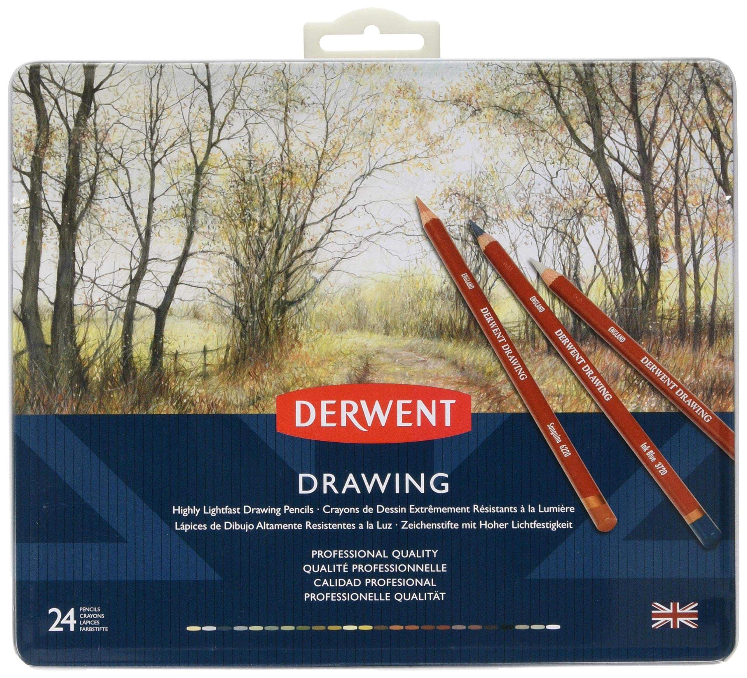 Derwent Colored Drawing Pencils, Metal Tin, 24 Count (0700672) by Derwent