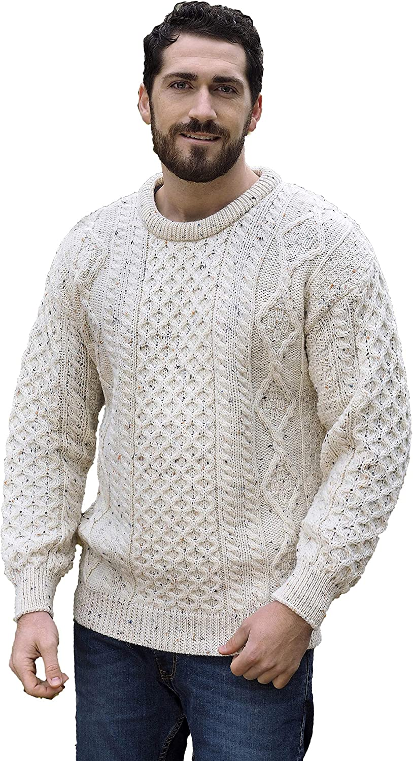 100/% Pure New Wool Aran Crafts Irish Soft Cable Knitted Crew Neck Sweater